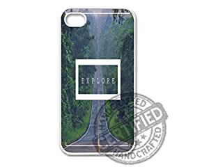 Apple iPhone 4/4s WHITE PLASTIC Case Awesome Hipster Inspirational Quote Explore 1 Design For Apple iPhone 4/4s Plastic Case WHITE