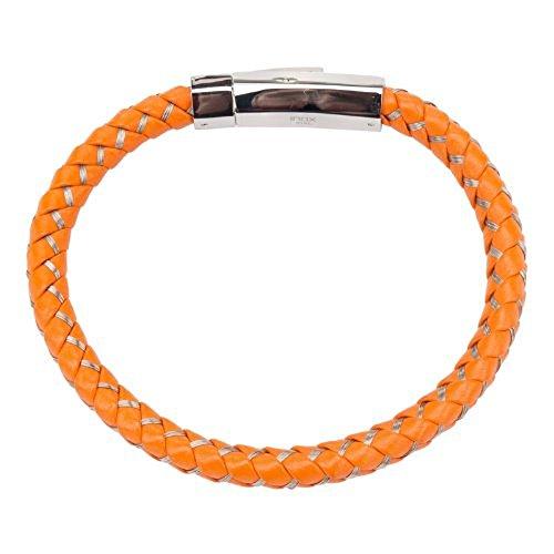 INOX Men's Mix Orange Woven Leather w/Steel Magnetic Polished Clasp Bracelet. (Men Leather Bracelet Inox)