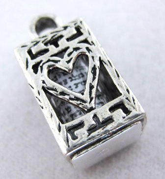 925 Sterling Silver Mezuzah Pendant with Shema Israel Scroll