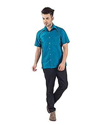 f48861ff0718d4 Warrior Men's Peacock Blue Art Silk Shirt: Amazon.in: Clothing & Accessories