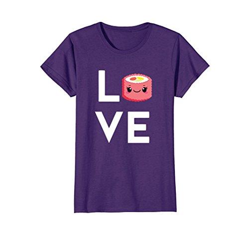 Womens I Love Sushi Rolls! Funny Sushi Lover T-Shirt Large Purple