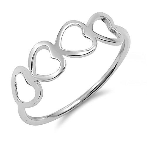 Four Sideways Open Heart Sterling Silver Womens Ring Size 10