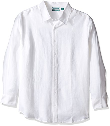 Pintuck Linen Shirt - Cubavera Men's Tall Long Sleeve 100% Linen Essential Shirt with Pintuck Detail, Bright White, 3X-Large Big