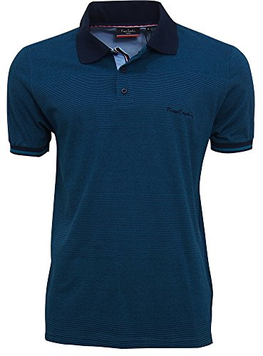 Pierre+Cardin+Mens+Engineered+Thin+Stripe+Polo+with+Signature+Embroidery+%28Small%2C+Navy%2FTeal%29