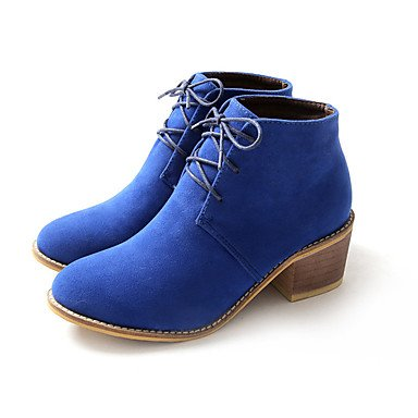 RTRY Women's Shoes Nubuck leather Fall Winter Combat Boots Boots Chunky Heel Booties/Ankle Boots For Casual Blue Brown Black US5.5 / EU36 / UK3.5 / CN35 YOInutGc0P