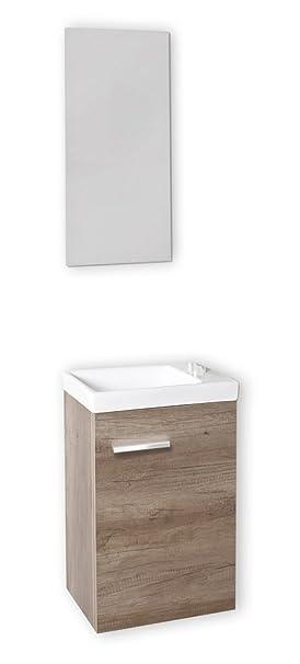baikal 24010555 meuble lave mains avec lavabo et miroir pour toilettes coloris boischne