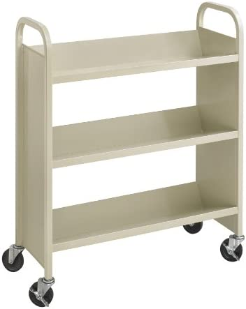 Safco Products Single-Sided Book Cart Sand, Heavy Duty, Swivel Wheels, 3 Slanted Shelves