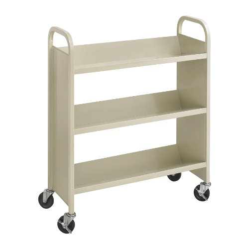 (Safco Products Single-Sided Book Cart 5358SA Sand, Heavy Duty, Swivel Wheels, 3 Slanted Shelves)