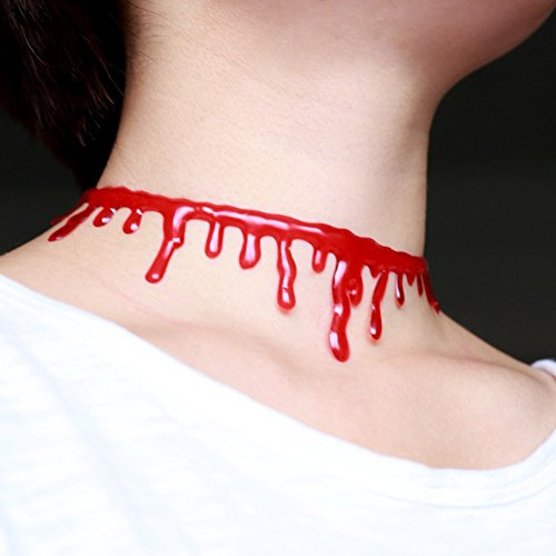 Theme Party Ladies Supplies Halloween Party Horror Blood Drip Slit Throat Necklace Bleeding Red Adjustable 8''~15''