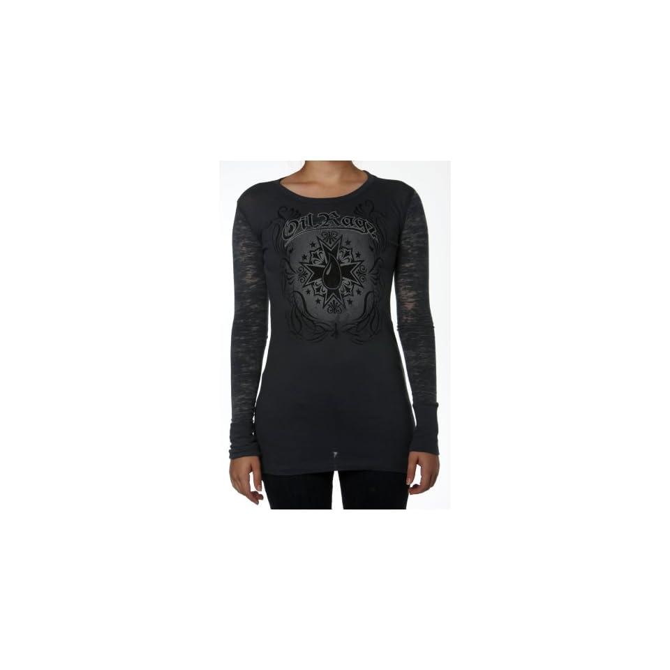 Oil Ragz F2 112 INDIGO MD Indigo Medium Womens Iron Cross Long Sleeve Combo Shirt with Burn Out Sleeves