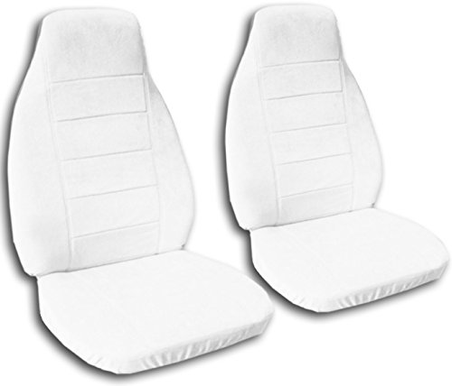 Solid Color Car Seat Covers: White - Universal Fit - Front - Buckets - Option for Airbag, Seat Belt, Armrest & Seat Release/Lever Compatible (22 Colors)