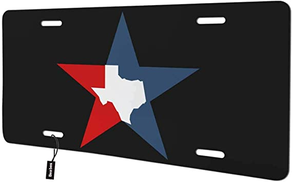 Beabes Texas State Home Front License Plate Cover Lone Star State Map Black White Decorative License Plates for Front of Car Vanity Plate for Men Women Alumium 6x12 Inch