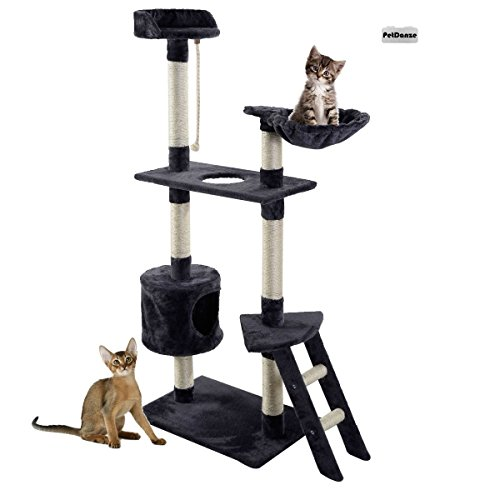 PetDanze Cat Tree Kitten Condo Post Scratcher | Kitty Tower Scratching Post Furniture | Cat Climbers Play House | 60'' Height, Grey by PetDanze