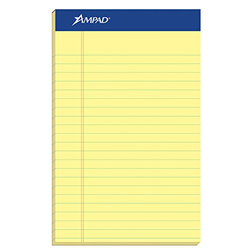 Ampad 20-204 Evidence Perf, Jr. Legal Rule Pads, Red Margin, 5x8 Inches, Canary, 50 Sheets, Dozen (AMP20204)