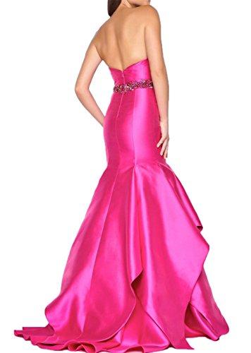 Abendkleider Perlen Meerjungfrau Pink Dunkel Jugendweihe Rot Damen Promkleider mit Steine Charmant langes Kleider wHqXPf