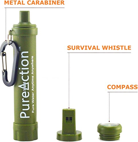 Emergency Water Filter Straw Water Filter for Camping Backpacking Survival Water Filter Straw Purifier Filters Up to 1500 Liters Portable Water Purifier Best Purification at 0.01 Micron