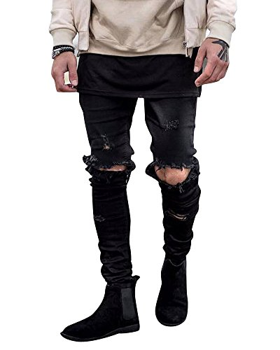 Slim Denim Casuale Nero Distrutto Jeans Destroyed Fit Straight Uomo Pantaloni vnx8OOqdCw