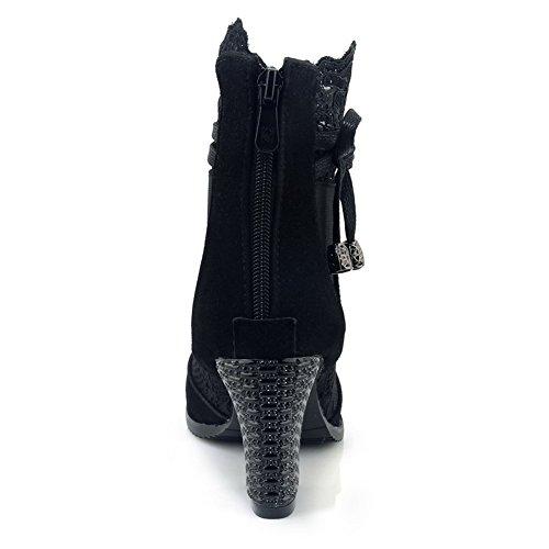 Boots Urethane Nubuck Black Boots DIU00677 AN Closed Womens Toe fwqWIH5X