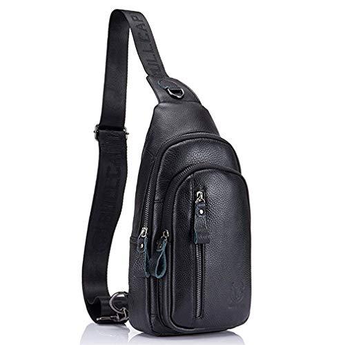 Hebetag Vintage Leather Sling Bag Crossbody Backpack for Men Women Shoulder Chest Bags Travel Outdoor Day Pack Daypack Black