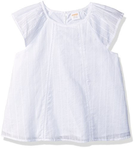 Gymboree Girls' Big Flutter Sleeve Woven Top, White Embroidered Stripe S