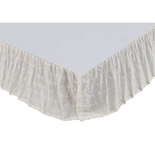 VHC Brands Farmhouse Willow White Bed Skirt, King, Creme