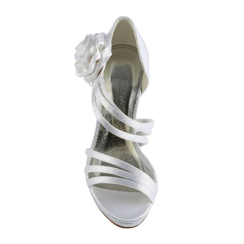 Prom Dance Wommen 37032 Da Sposa Open Stilettod Toe Bianco Pumps Party Satin Bridal Scarpe Jia Yn8gqfY
