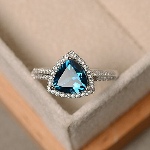 (London Blue Topaz Engagement Ring 925 Sterling Silver Trillion cut Gemstones and Cz Jewelry)