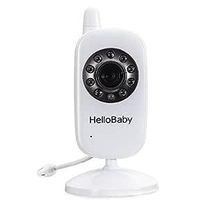 HelloBaby Video Baby Monitor with Remote Pan/Tilt/Zoom Camera and Two Way Talkback/Audio, LCD Display Screen, Night Vision, Temperature Sensor, Lullaby and Long Range (Camera)