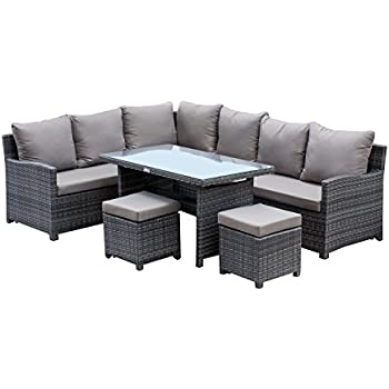 Hospitality Rattan U3215F 5 Piece Sapphire Outdoor Collection Dining  Sectional Furniture Set. Amazon com  Hospitality Rattan U3215F 5 Piece Sapphire Outdoor