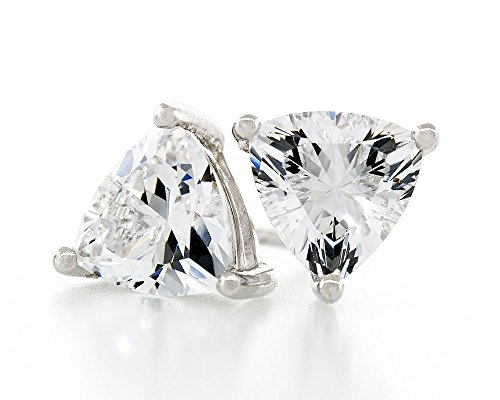 Acacia Jewelry 1.50 Carat (ctw) Triangle Shape Trillion Diamond Cut Crystal White 6x6mm Crystal CZ 925 Sterling Silver Heavy Mounting Stud Earrings Rhodium Plated Trillion Cut Earring
