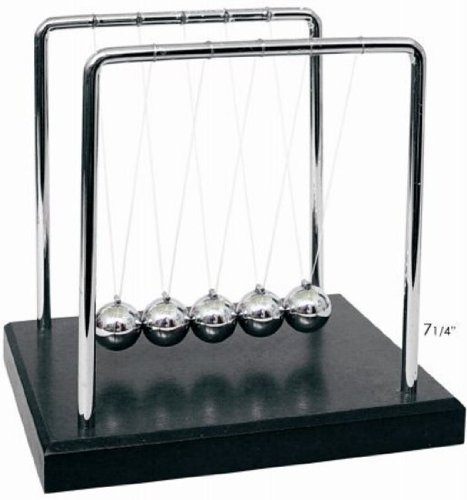 Newton's Cradle Art in Motion, 7 1/4-Inch Balance Balls - Black Wooden Base by Generic