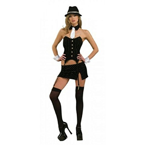 Sexy Women's Ms. Gangster Adult Costume Size Medium 10-12 - Gangster Costume Mustache