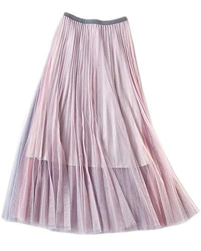 (Ninmon Shares Women A-line Skirt Basic Elastic Waist Casual Lace Mesh Skirt)