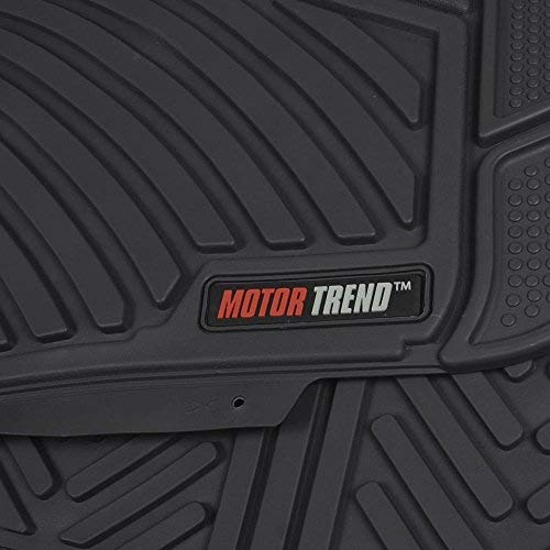 Odorless Extreme Duty MT-773-884-GR Motor Trend Flextough Rubber Car Floor Mats /& Cargo Trunk Mat Set Black Heavy Duty Gray