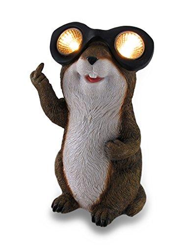Zeckos Naughty Groundhog Solar Eyes Solar LED Light Statue