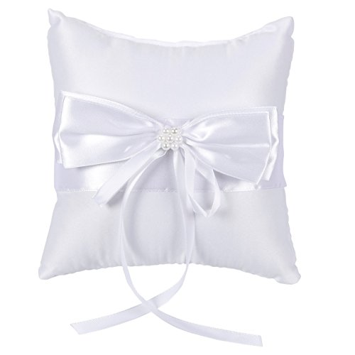 Juvale Wedding Ring Bearer Pillow - Classic Satin Lace Ribbon with Pearls Ceremony Cushion -7.5 x 7.5 x 3.5 Inches