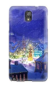 Durable Merry Christmas Town Back Case/cover For Galaxy Note 3