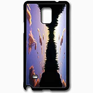 Unique Design Fashion Protective Back Cover For Samsung Galaxy Note 4 Case Beautiful Sunset Lake Nature Black