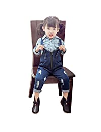 Girl's Denim Overalls Jeans Fashion Zipper Kids Ripped Cowboy Suspender