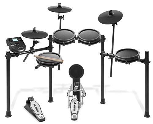 Alesis Drums Nitro Mesh Kit | Eight Piece All-Mesh Electronic Drum Kit With Super-Solid Aluminum Rack, 385 Sounds, 60 Play-Along Tracks, Connection Cables, Drum Sticks & Drum Key - Rack Bass