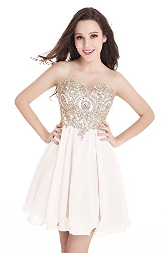 2016 Short Beading Open Back Satin Homecoming Dress Prom Gowns (Ivory,16)