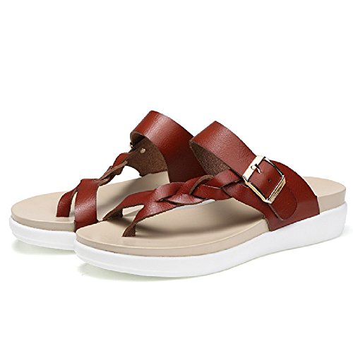 Btrada Womens Casual Flip-Flops Anti-Slip Flat Sandal Beach Shoes Brown ZDm1s0