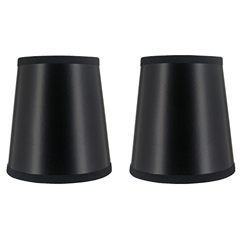 Upgradelights 4 Inch Black and Gold Parch Chandelier Lamp Shade Set of 2 That Clips onto Bulb 3x4x4