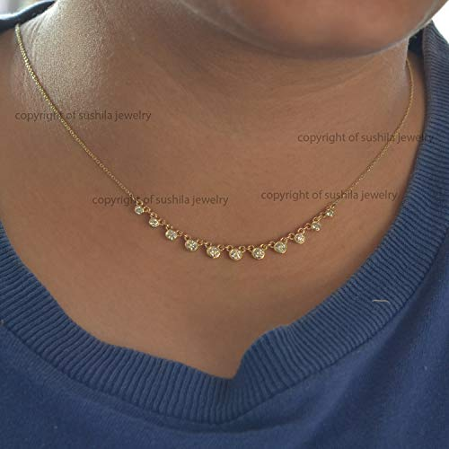 Genuine Diamond Charm Choker Necklace in Solid 14k Yellow Gold Handmade Woman's Choker Necklace Jewelry Gift ()