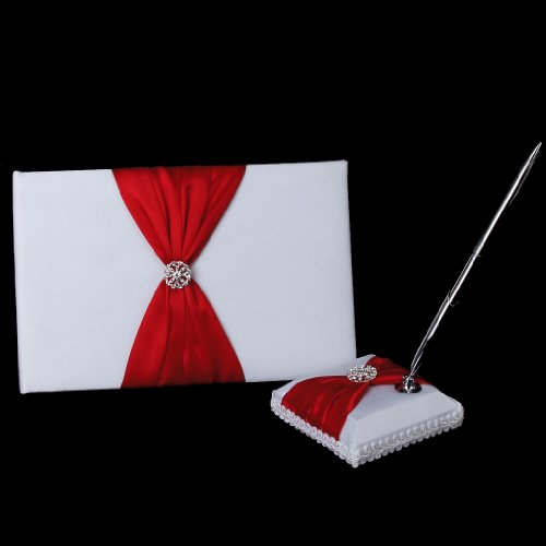 Wedding Guest Book Pen and Stand Set Handmade Rose Flower Decor, 70 Pages in Total ()