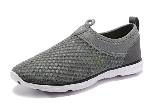 Kenswalk Men's Aqua Water Shoes Lightweight Beach Swim Pool Walking Sneakers (US 13, Grey)