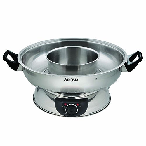 Aroma Stainless Steel Hot Pot, Silver (ASP-600) (Best Chinese Hot Pot)