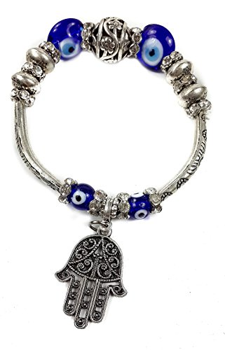 Nazareth Store Blue Beads Evil Eye Bracelet Hamsa Hand of Fatima for Men Women Stretch Bracelets Lucky Charm