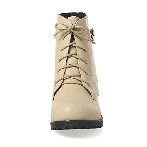 Boots Women Western Heel Lace Beige Martin Up COOLCEPT Low Ankle 8dqwC81