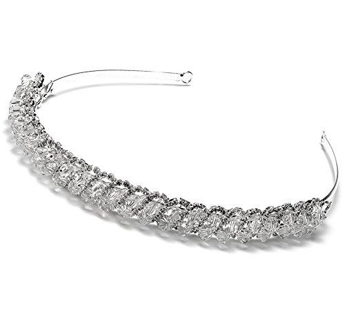 Elegance by Carbonneau Women's CLARICE Silver Crystal Wedding Headband Bridal Tiara with Rhinestone